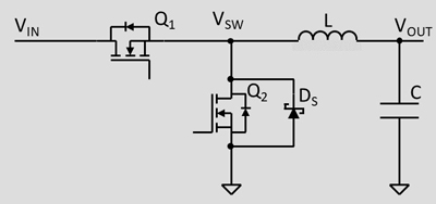 Diagram of a conventional buck converter with added Schottky diode DS