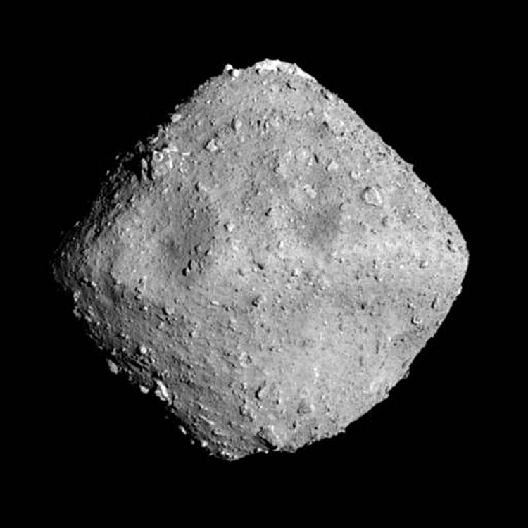 The asteroid Ryuga has an approximately spherical/diamond shape with a diameter of about 0.6 miles and a black-ish surface (low reflectance). It rotates every 7.5 hours.