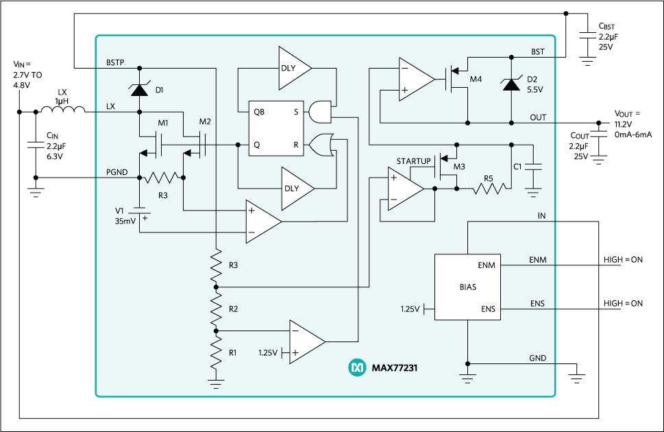 Ultra Low Noise and Ripple Boost Regulator.