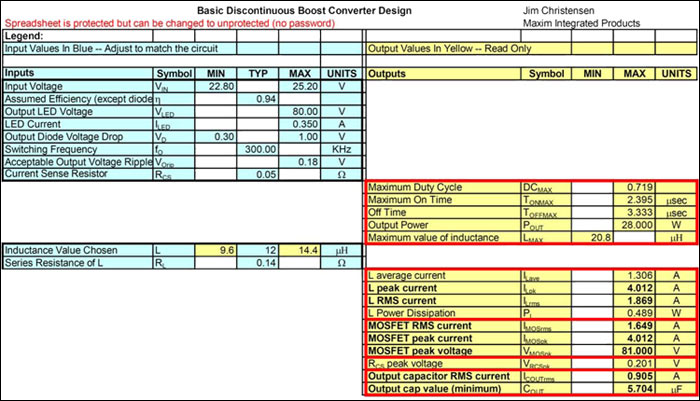Figure 5. Design spreadsheet. To get the spreadsheet for use in your design, contact your local Maxim sales office.