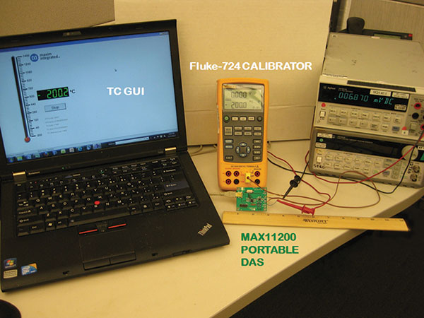 Figure 4. The setup for the temperature measurement system featuring the MAX11200 ADC.