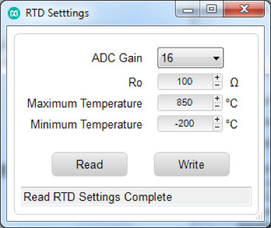 RTD Settings pop up window.
