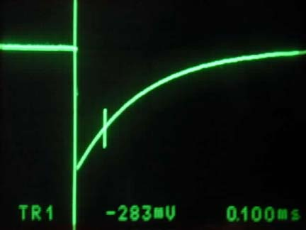 Figure 4. Pulse output; horizontal scale = 100µS/div, vertical scale = 1V/div, supply voltage = 4.5V, pulse width (30%) = 100µS.