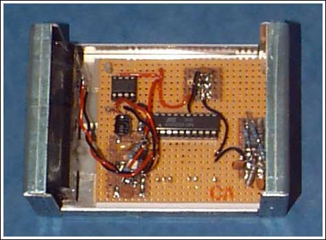 Figure 5. The final assembled unit includes the data-logger board and the battery pack, which appears on the left-hand side of the casing.