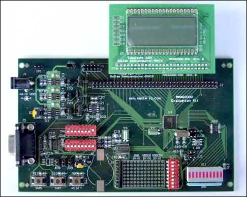 Figure 1. MAXQ2000 Evaluation Kit with LCD board attached.