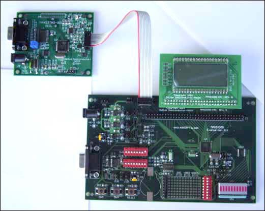 Figure 2. MAXQ2000 Evaluation Kit connected to JTAG board.