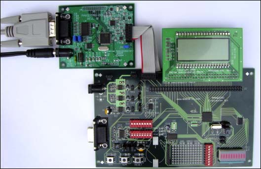 Figure 3. Correct position for serial cable, attached to JTAG board.