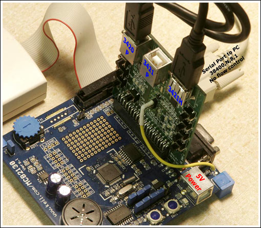 Figure 2. The Maxim EV kit plugs into a Keil MCB2130 board.