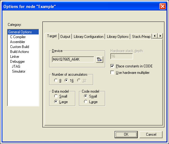 Figure 5. The Code model and Data model are selected from the IAR EWMAXQ Options menu.
