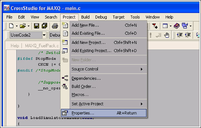 Figure 7. To set project properties, choose Project -> Properties from the menu bar.