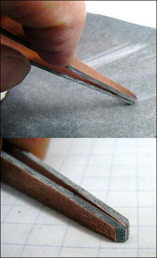 Figure 6. Carefully sharpen the points on emery cloth and smooth the cut sides.