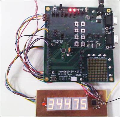 Figure 6. The circuit of Figure 5 was implemented with a RISC microcontroller (MAXQ610-KIT) and a custom board for the display and panel-meter IC (MAX1499).