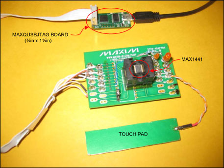 Figure 2. MAX1441 application board and MAXQUSBJTAG-KIT connection setup.