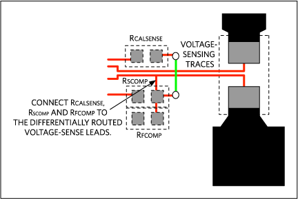 Connect RCALSENSE, RSCOMP, and RFCOMP to the differentially routed voltage-sense leads.