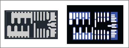 Example of E-type Package Outline (Left) and Stencil Aperatures Design (Right). Blue color indicates  solder mask openings.  White color indicates stencil apertures.