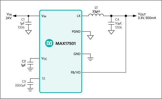 A simplified schematic diagram of the MAX17501 switching power supply.