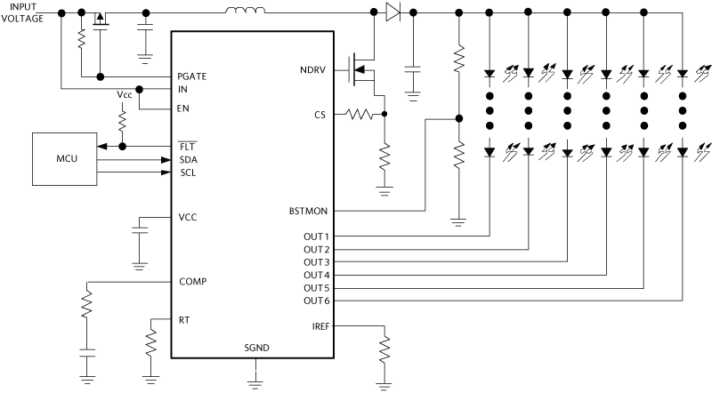 LED driver in typical application circuit