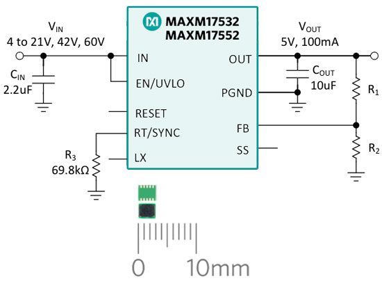 MAXM17532/MAXM17552 typical application circuit schematic