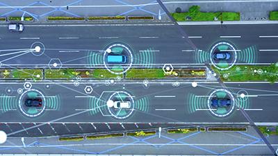 Autonomous vehicles emitting LiDAR signals.