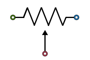 The potentiometer symbol is a resistor symbol with an arrow representing the variable wiper.