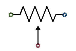 ポテンショメータの記号は抵抗の記号に可変ワイパーを表す矢印を付けたもの