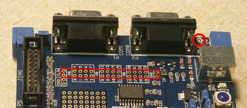 Figure 3. Solder a 36-pin male header into the site shown in the red rectangle.