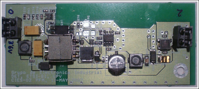 Figure 3. Top view of the DC-DC PFM converter prototype for wireless applications.