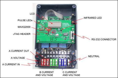 reference design for an energy meter using the maxq3180 maxq3183 the board layout and connection terminals for the energy meter reference design