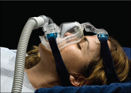Continuous positive airway pressure (CPAP) respiratory ventilation system.