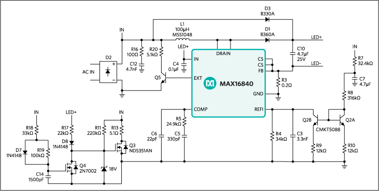 mr16 led driver makes mr16 led lamps compatible with most electronicschematic of max16840 hb led driver in a boost configuration for mr16 led