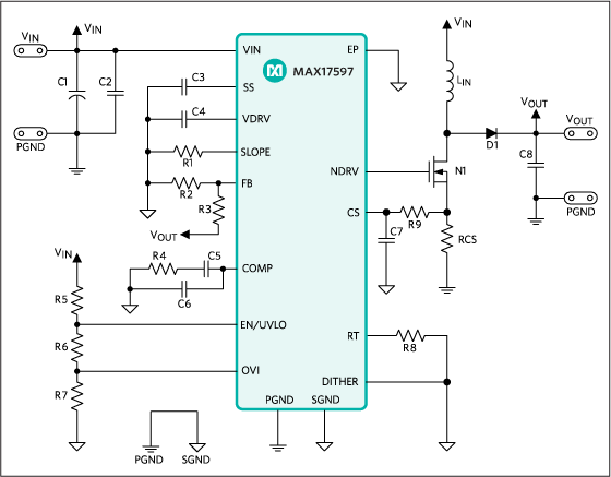 Figure 1. Typical application circuit for MAX17597.