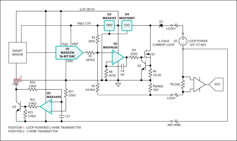 5610Fig02 high performance, high accuracy 4 20ma current loop transmitter 4-20ma loop powered isolator wiring diagram at readyjetset.co