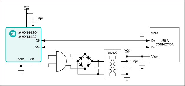 A DCP example for autodetection of USB BC1.2/Apple 1A devices. This design features the MAX14630/MAX14632 USB charger adapter emulators.