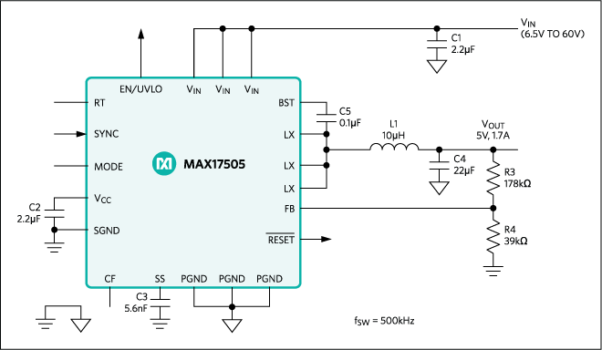 The MAX17505 high-efficiency, high-voltage, synchronously rectified step-down converter has dual integrated MOSFETs, operates over a 4.5V to 60V input, and delivers up to 1.7A and 0.9V to 90% VIN output voltage.