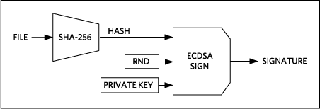 ECDSA signing of the firmware/data file.