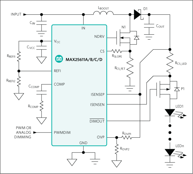MAX25611A, MAX25611B, MAX25611C, MAX25611D: Simplified Application Circuit