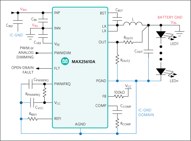 MAX25610A, MAX25610B: Simplified Application Circuit