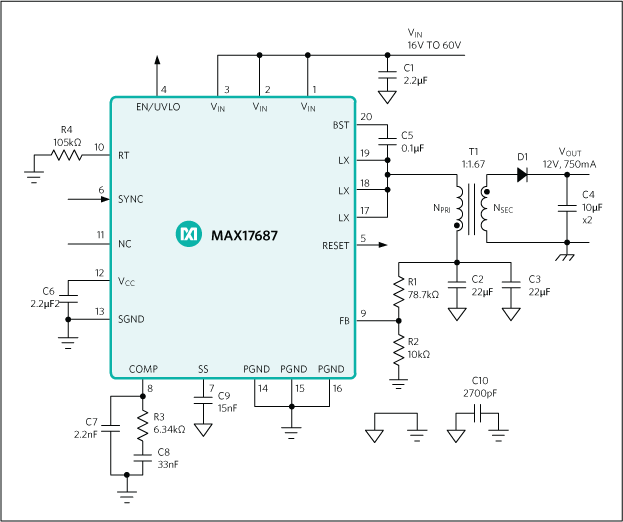 MAX17687: Typical Application Circuit