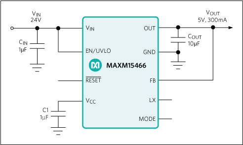 MAXM15465, MAXM15466, MAXM15467: Typical Application Circuit 5V