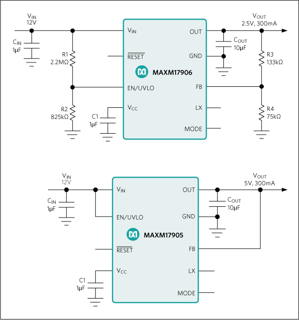 MAXM17904, MAXM17905, MAXM17906: Typical Application Circuits