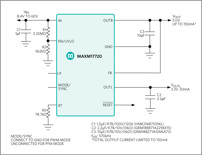 MAXM17712, MAXM17720, MAXM17724: Typical Application Circuit