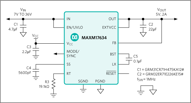 MAXM17633, MAXM17634, MAXM17635: Typical Application Circuit
