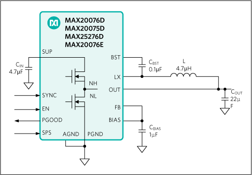 MAX20075D, MAX20076D, MAX20076E, MAX25276D: Typical Application Circuit