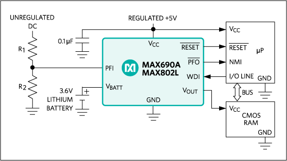 MAX690A, MAX692A, MAX802L, MAX802M, MAX805L: Typical Operating Circuit