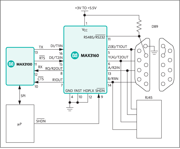 MAX3160, MAX3161, MAX3162: Typical Operating Circuit