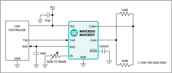 MAX3050, MAX3057: Typical Operating Circuit