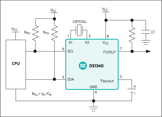 DS1340, DS1340C: Typical Operating Circuit