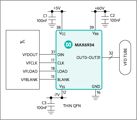 MAX6922, MAX6932, MAX6933, MAX6934: Typical Operating Circuit