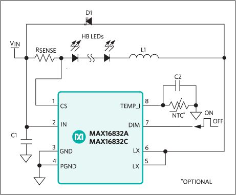 MAX16832A, MAX16832C: Typical Application Circuit