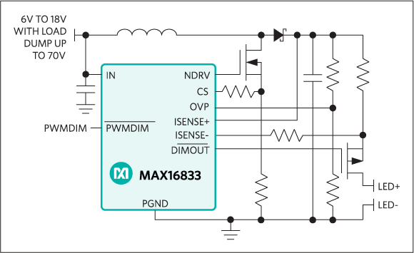 MAX16833, MAX16833B: Simplified Operating Circuit